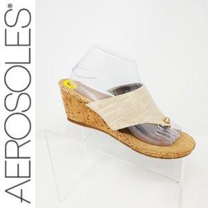 Aerosoles Womens Sz 9 Gold Beige Thong Cork Wedges